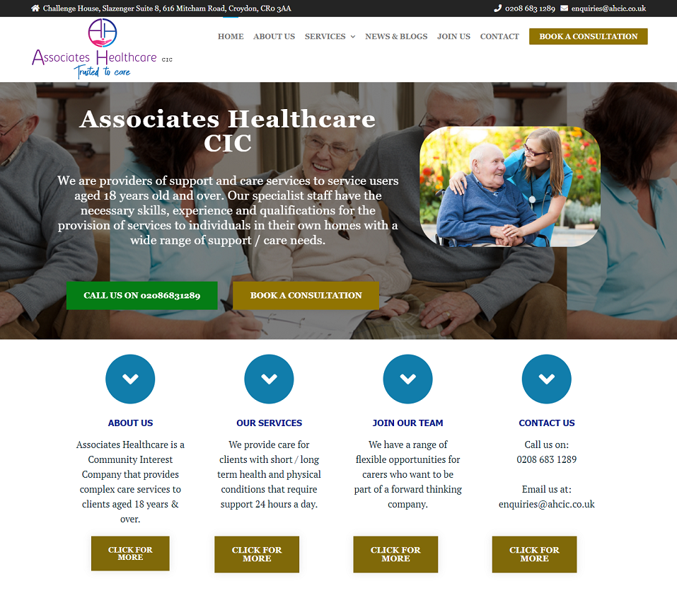 ahcic website designed by evantu it and web solutions