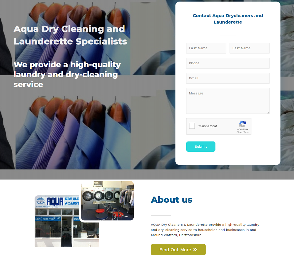 aqua dry cleaners launderette website designed by evantu it and web solutions