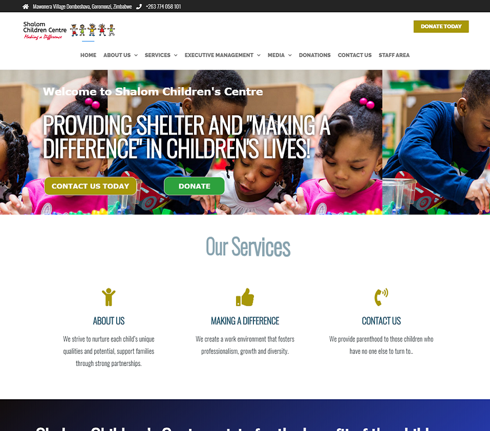 shalom children centre website designed by evantu it and we solutions
