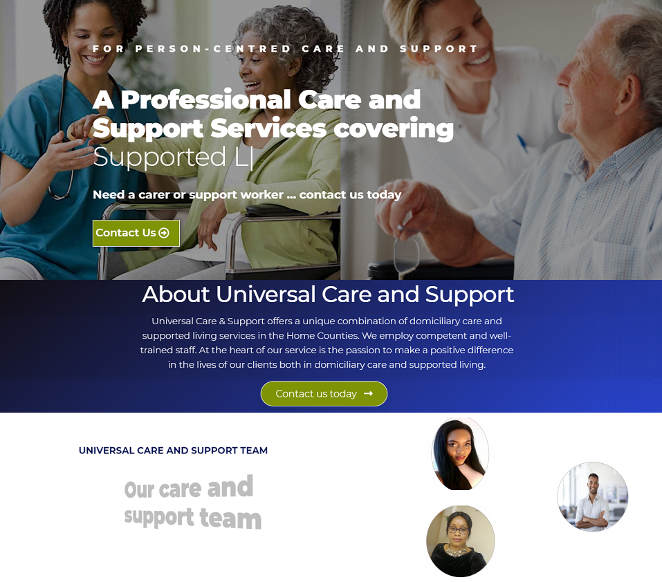 universal care support website designed by evantu it and web solutions