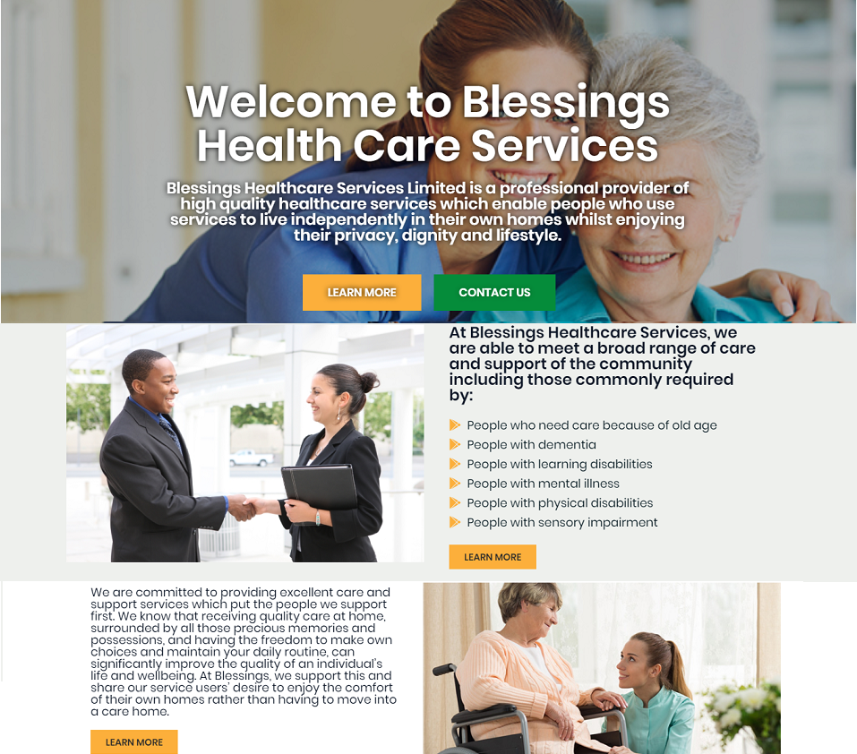 blessings health website designed by evantu it and web solutions