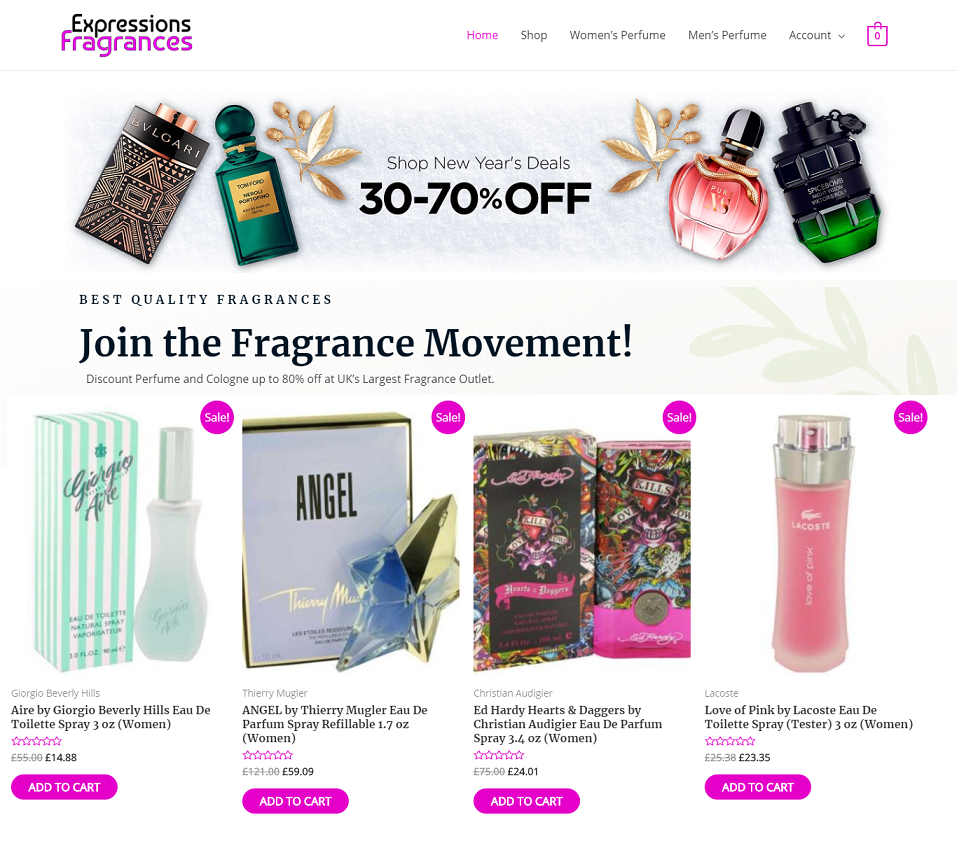 expressions fragrances website designed by evantu it and web solutions