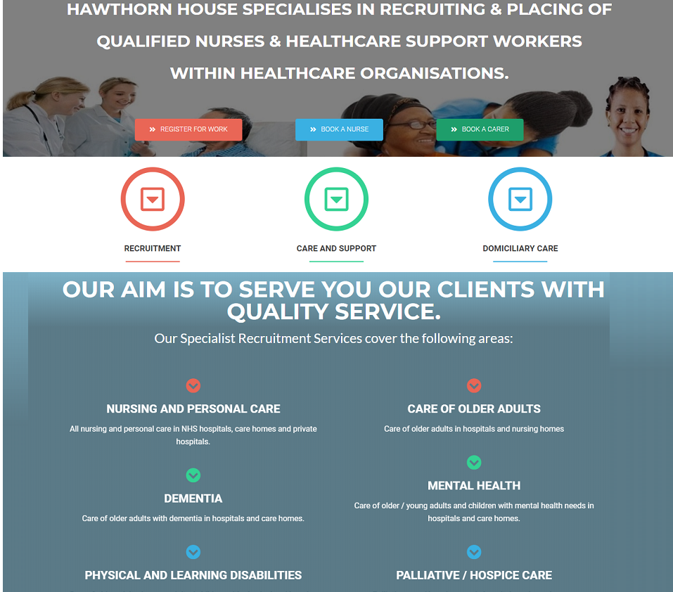hawthorn house care website designed by evantu it and web solutions