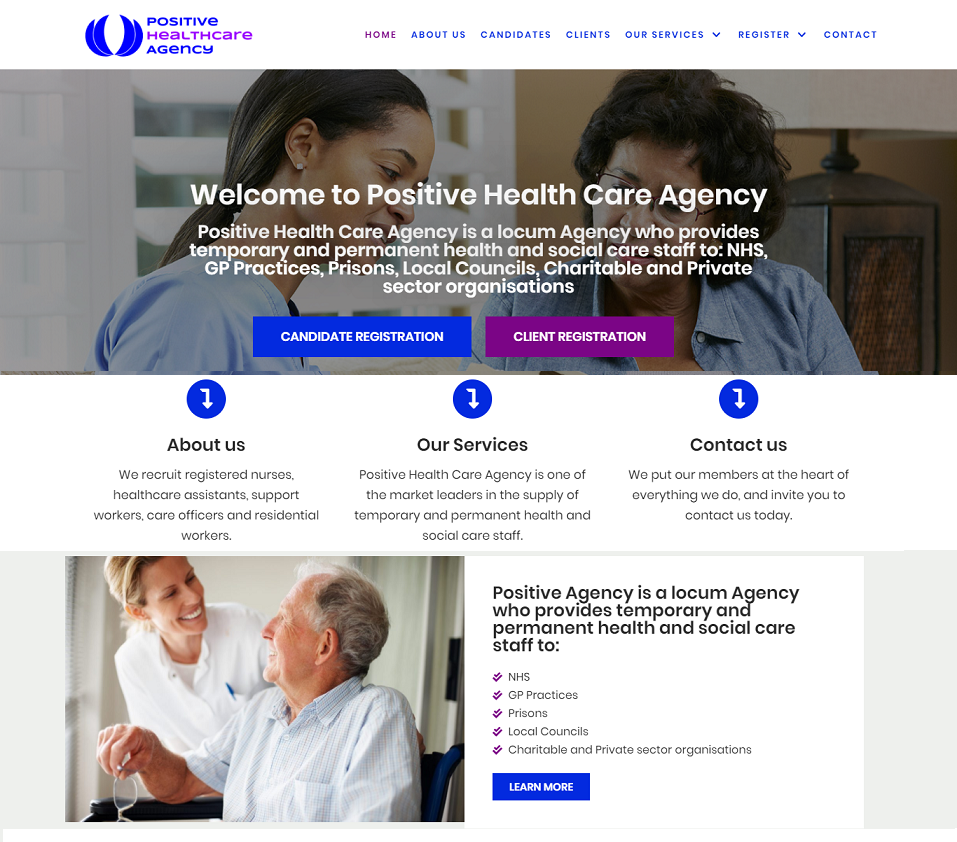 positive health care agency website designed by evantu it and web solutions