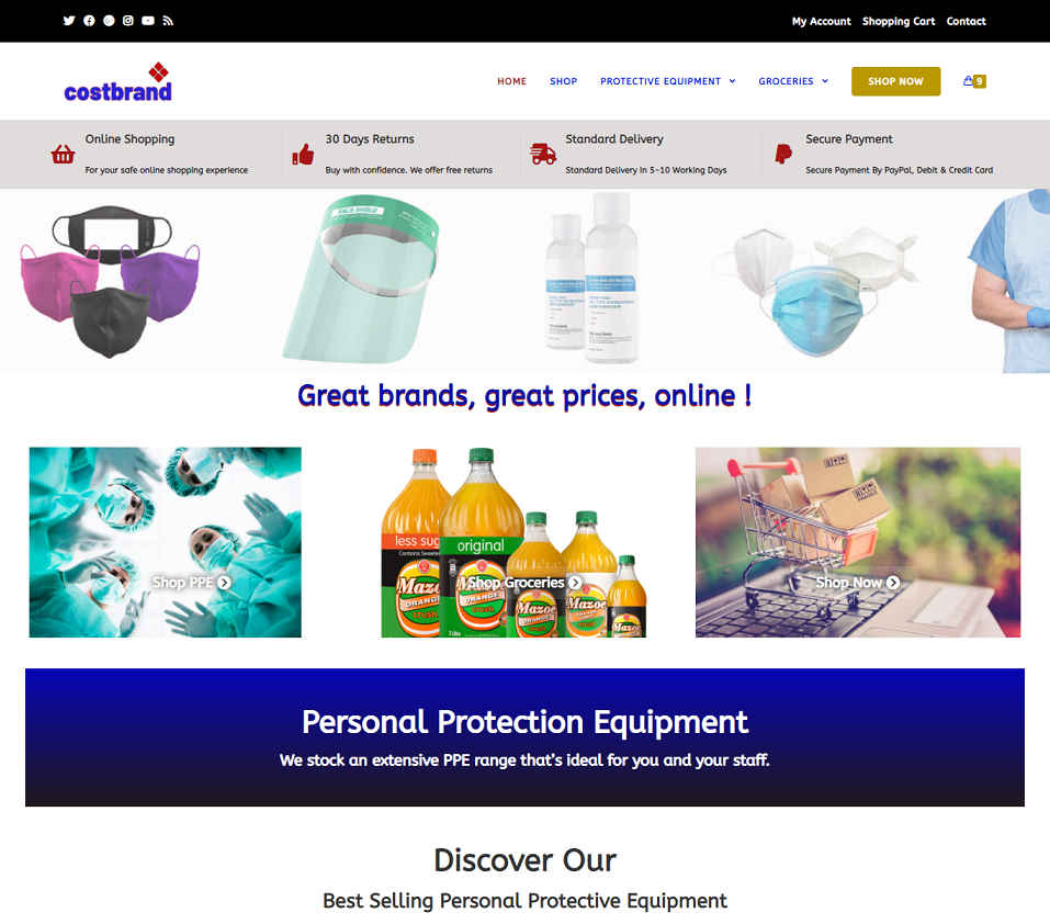 costbrand.co.uk website designed by evantu it and web solutions