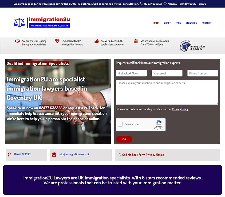 immigration2u.co.uk website designed by evantu it and web solutions
