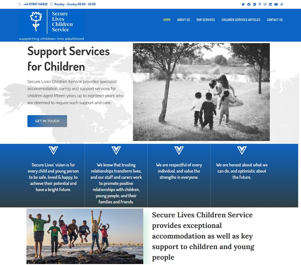 secureliveschildrenservice.com website designed by evantu it and web solutions