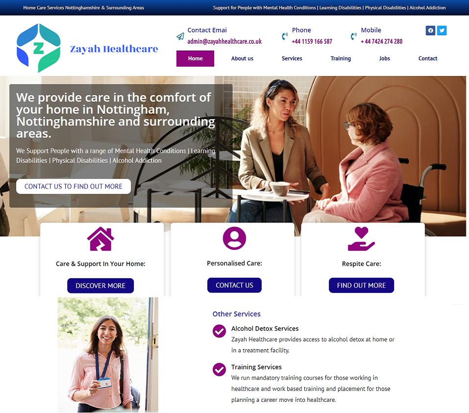 zayahhealthcare.co.uk website designed by evantu website development